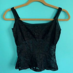 Tops - Black Lace Bra Corset Cropped Top